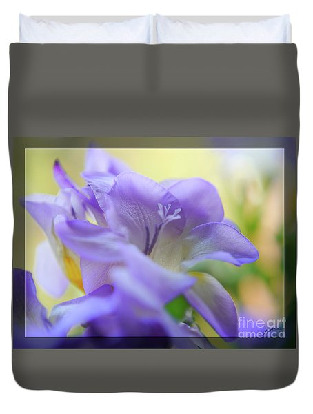 Duvet Cover featuring the photograph Just Freesia's by Lance Sheridan-Peel