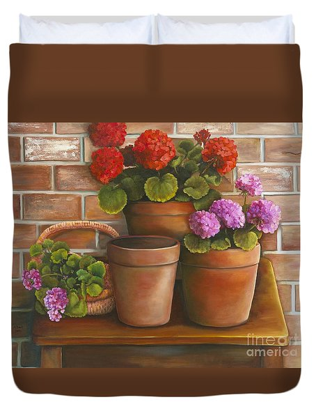 Just Geraniums Duvet Cover by Marlene Book