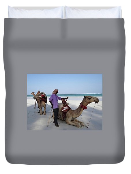 Just Married Camels Kenya Beach 2 Duvet Cover