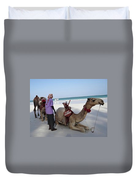 Just Married Camels Kenya Beach Duvet Cover