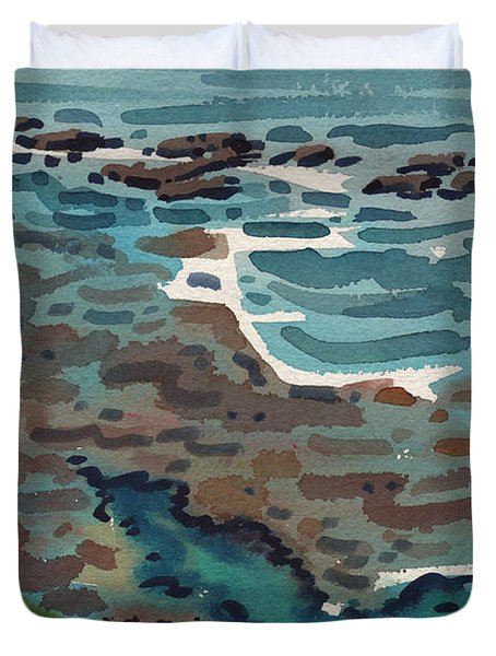 Duvet Cover featuring the painting Just North Of Santa Cruz by Donald Maier