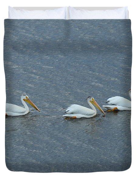Triple Pelicans Lake John Swa Co Duvet Cover