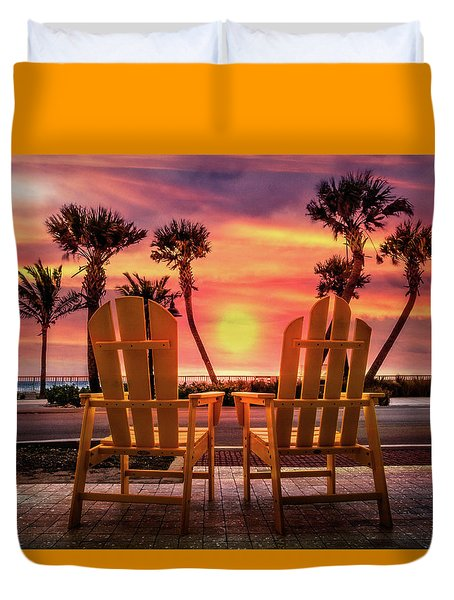 Duvet Cover featuring the photograph Just The Two Of Us by Debra and Dave Vanderlaan