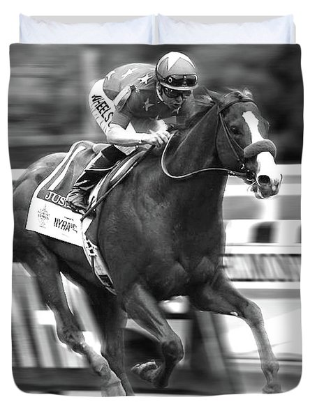 Justify, Belmont Stakes, Triple Crown, 2018 Duvet Cover