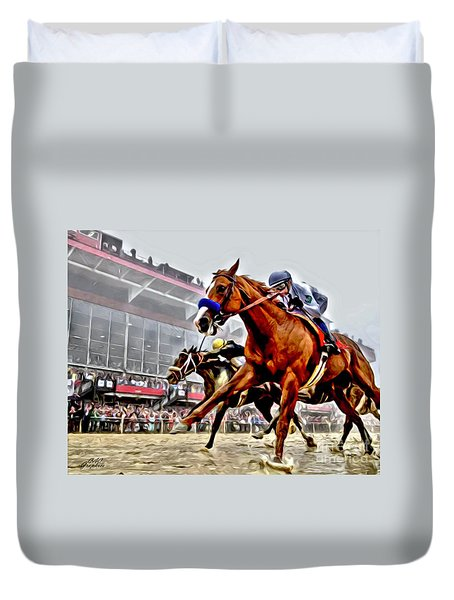 Justify Wins Preakness Duvet Cover