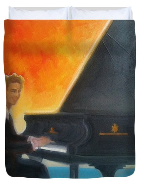 Justin Levitt At Piano Red Blue Yellow Duvet Cover