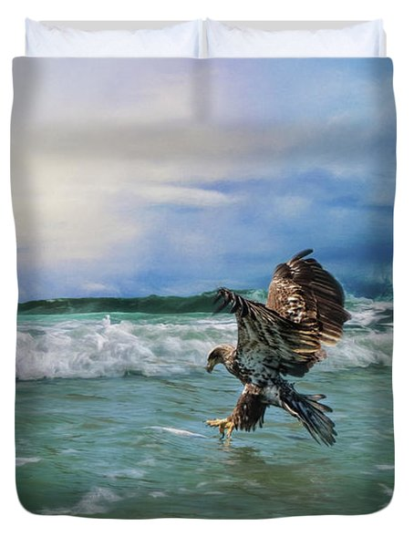 Juvenile Eagle At Sea Wildlife Art Duvet Cover by Jai Johnson