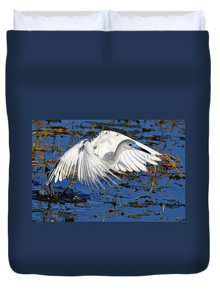 Juvenile Little Blue Heron Duvet Cover