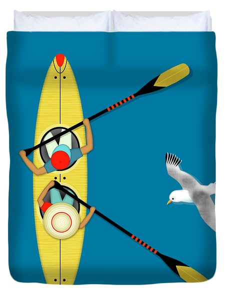 K Is For Kayak And Kittiwake Duvet Cover