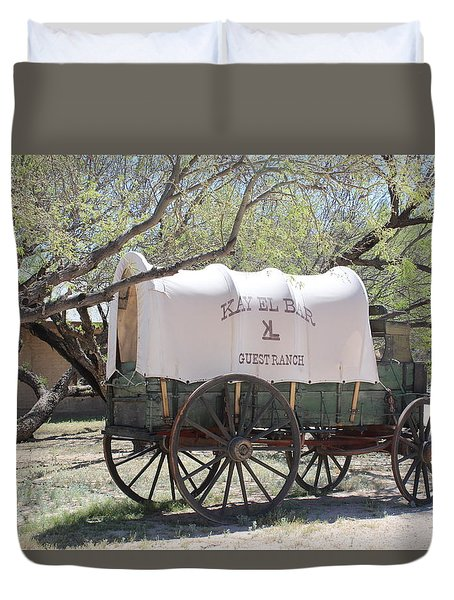 K L Bar Wagon Duvet Cover