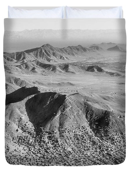 Kabul Mountainous Urban Sprawl Duvet Cover