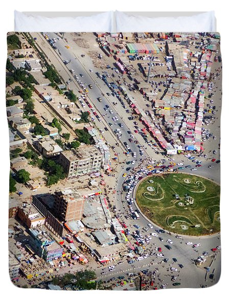 Kabul Traffic Circle Aerial Photo Duvet Cover