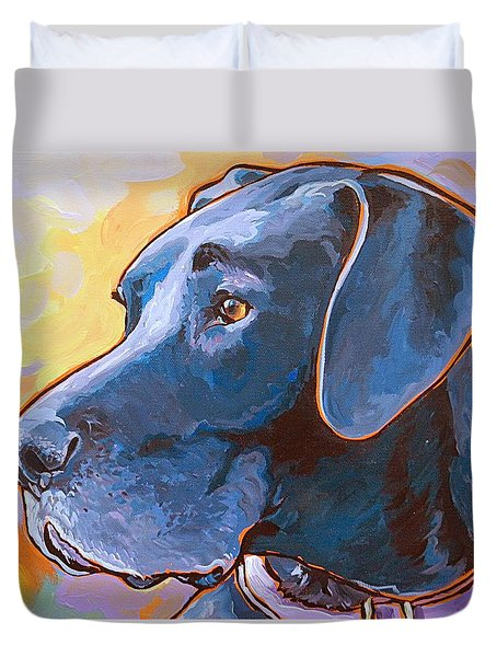 Duvet Cover featuring the painting Kaia by Nadi Spencer