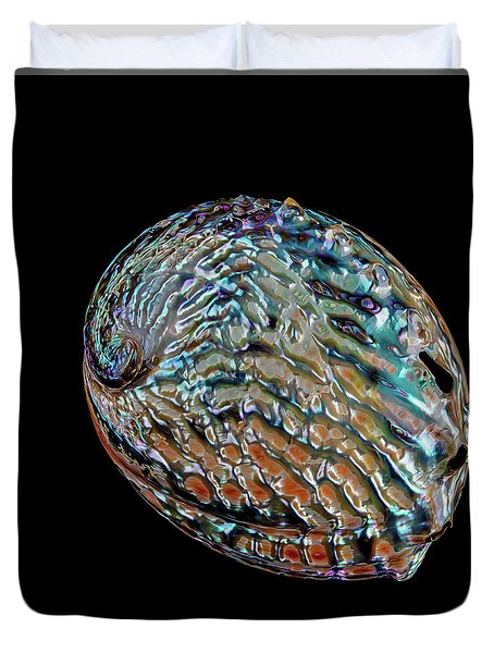 Duvet Cover featuring the photograph Kaleidoscope Abalone by Rikk Flohr