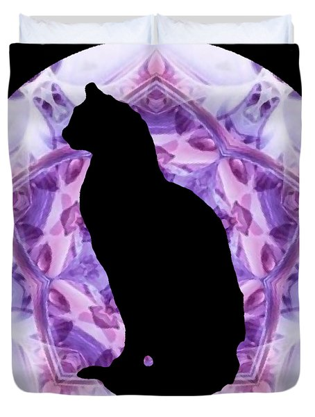 Kaleidoscope Cat Silhouette Duvet Cover