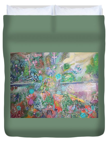 Duvet Cover featuring the painting Kaleidoscope Fairies Too by Judith Desrosiers
