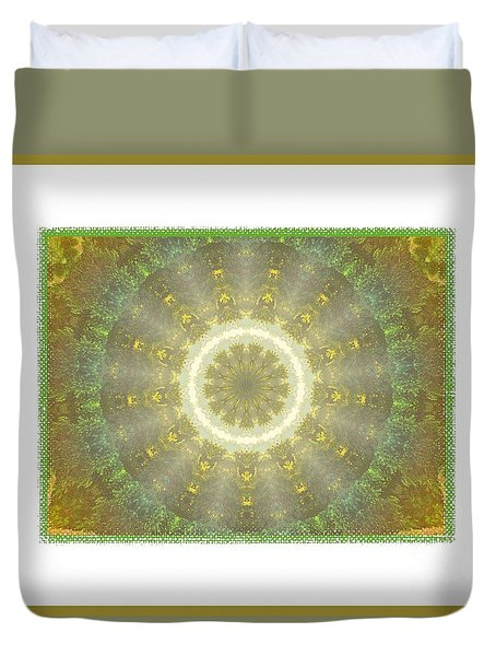 Kaleidoscope Golden Green Duvet Cover