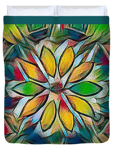 Kaleidoscope In Stained Glass Duvet Cover