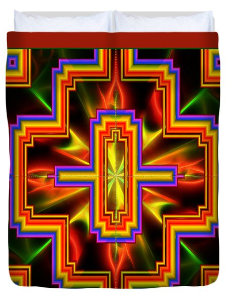 Duvet Cover featuring the digital art Kaleidoscope Vision by Mario Carini
