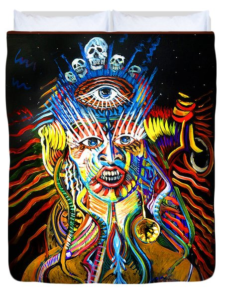 Duvet Cover featuring the painting Kali by Amzie Adams