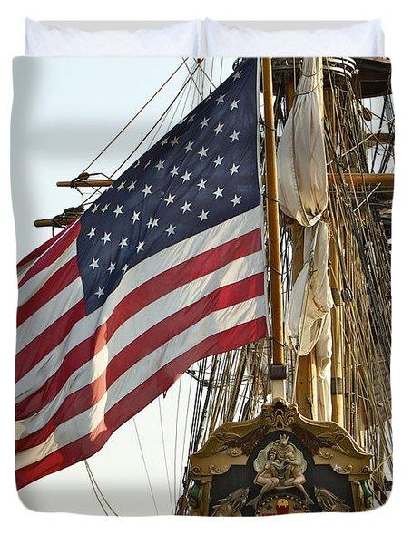 Kalmar Nyckel American Flag Duvet Cover by Alice Gipson