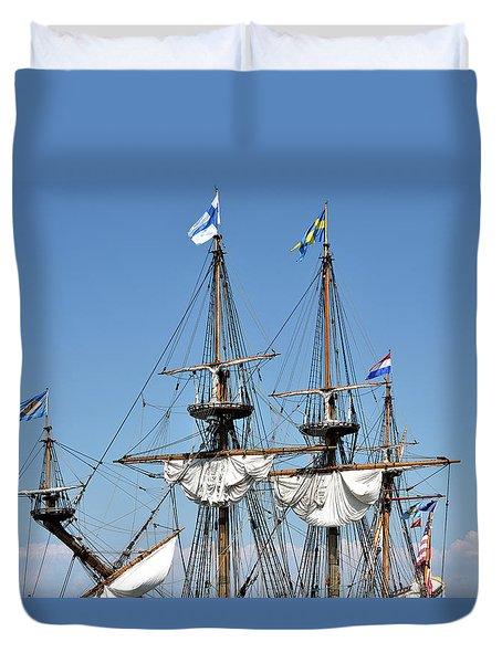 Kalmar Nyckel - Docked In Lewes Delaware Duvet Cover by Brendan Reals