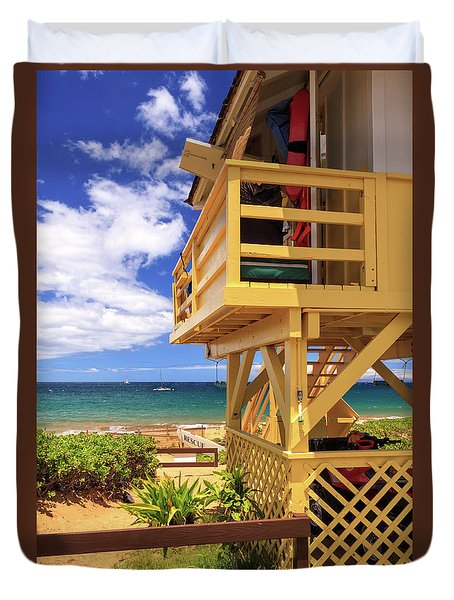 Duvet Cover featuring the photograph Kamaole Beach Lifeguard Tower by James Eddy