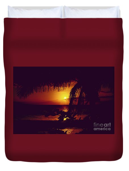 Duvet Cover featuring the photograph Kamaole Tropical Nights Sunset Gold Purple Palm by Sharon Mau