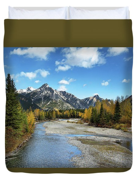 Kananaskis River In Fall Duvet Cover