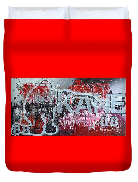 Duvet Cover featuring the painting Kaner 88 by Melissa Goodrich