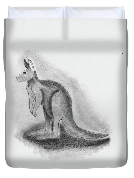 Kangaroo Drawing Duvet Cover