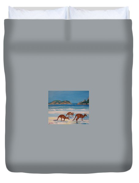 Kangaroos On The Beach Duvet Cover