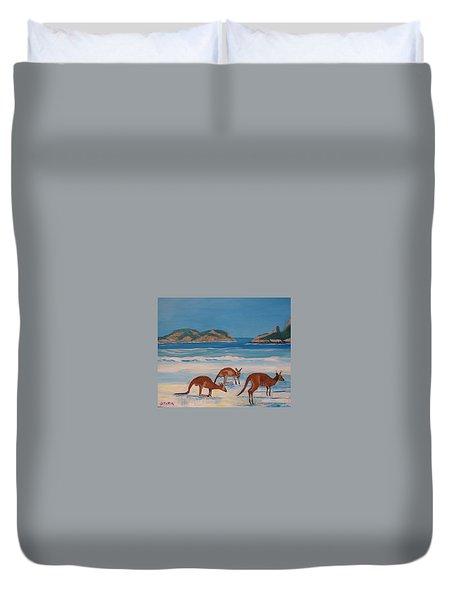 Kangaroos On The Beach Duvet Cover