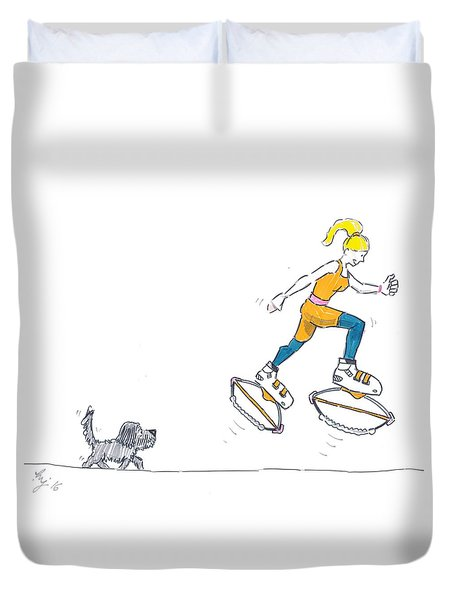 Kangoo Jumps Bouncy Shoes Walking The Dog Keep Fit Cartoon Duvet Cover