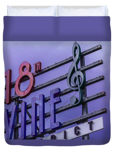 Kansas City 18th And Vine Sign Duvet Cover