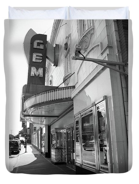 Duvet Cover featuring the photograph Kansas City - Gem Theater 2 Bw  by Frank Romeo