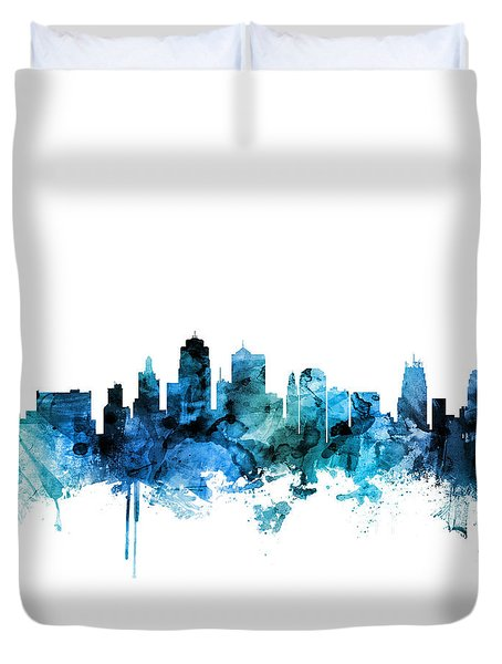 Kansas City Missouri Skyline Duvet Cover