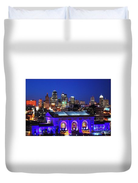 Kansas City Skyline At Night Duvet Cover