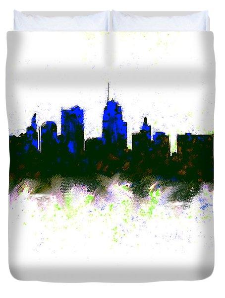 Kansas City Skyline Blue  Duvet Cover by Enki Art