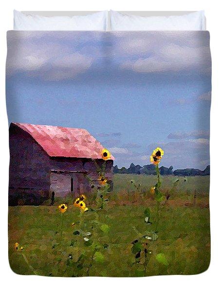 Duvet Cover featuring the photograph Kansas Landscape by Steve Karol