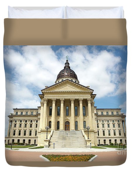 Duvet Cover featuring the photograph Kansas State Capitol Building by Steven Frame