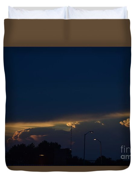 Duvet Cover featuring the photograph Kansas Sunset Angel by Mark McReynolds