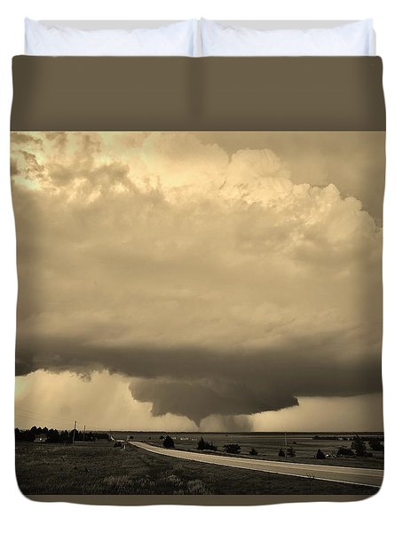 Duvet Cover featuring the photograph Kansas Twister - Sepia by Ed Sweeney