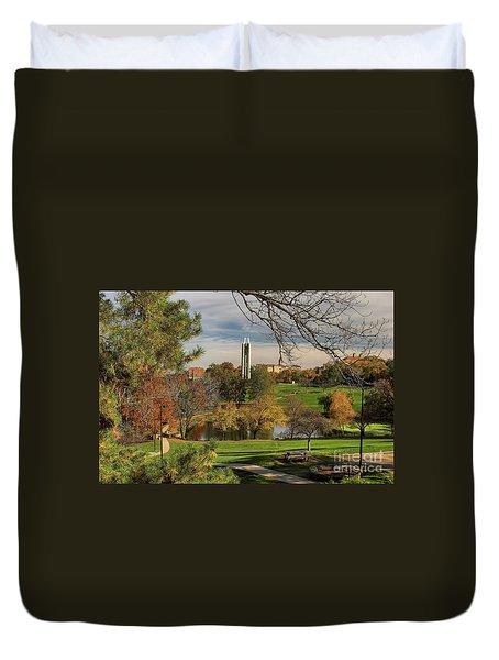 Duvet Cover featuring the photograph Kansas University by Joan Bertucci