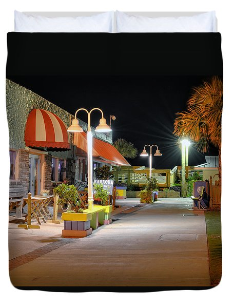 Karaoke On Carolina Beach Boardwalk Duvet Cover by Greg Mimbs