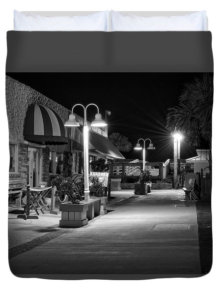 Duvet Cover featuring the photograph Karaoke On Carolina Beach Boardwalk In Black And White by Greg Mimbs