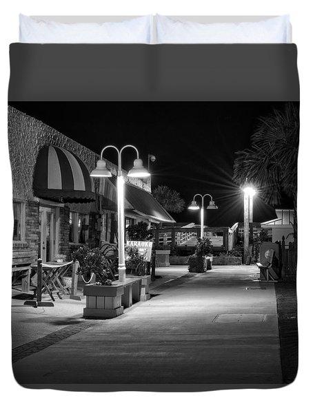 Karaoke On Carolina Beach Boardwalk In Black And White Duvet Cover by Greg Mimbs