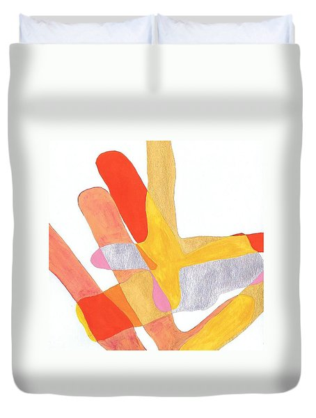 Duvet Cover featuring the painting Karlheinz Stockhausen Tribute Falling Shapes by Dick Sauer