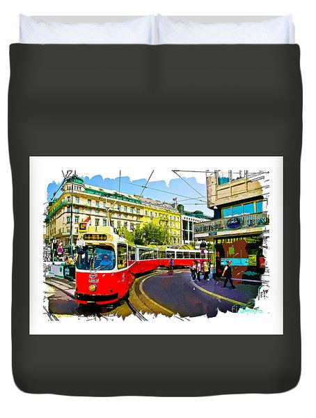 Duvet Cover featuring the photograph Kartner Strasse - Vienna by Tom Cameron