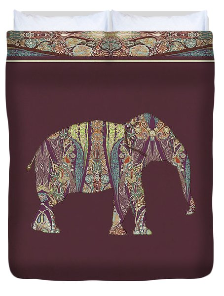 Duvet Cover featuring the painting Kashmir Patterned Elephant 2 - Boho Tribal Home Decor  by Audrey Jeanne Roberts